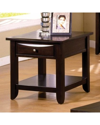 """Baldwin Collection CM4265DK-E 24"""" End Table with Drawer Open Bottom Shelf and Tapered Legs in"""