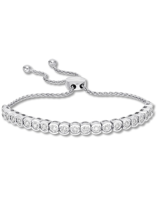 Jared The Galleria Of Jewelry Diamond Bolo Bracelet 1 carat tw Round-cut Sterling Silver