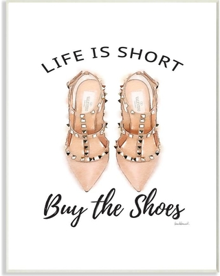 """Stupell Industries 12.5 in. x 18.5 in. """"Black and Peach Pink Life Is Short Buy The Shoes"""" by Artist Amanda Greenwood Wood Wall Art, Multi-Colored"""