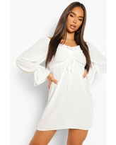 Womens Ruched Off The Shoulder Long Sleeve Mini Dress - White - 14