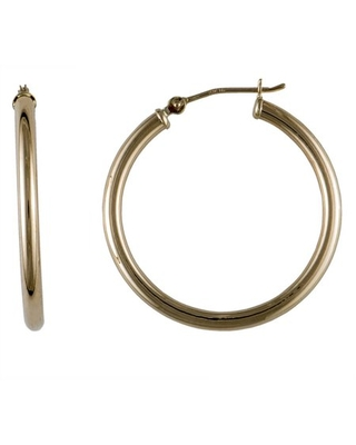 Brilliance Fine Jewelry 10kt Yellow Gold 2.0mm x 28mm Round Hoop Earrings