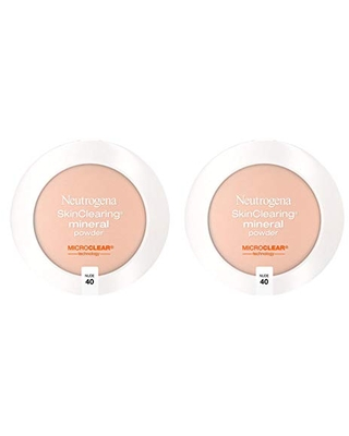 Neutrogena SkinClearing Mineral Acne-Concealing Pressed Powder Compact, Shine-Free & Oil-Absorbing Makeup with Salicylic Acid to Cover, Treat & Prevent Acne Breakouts, Nude 40.38 oz (Pack of 2)