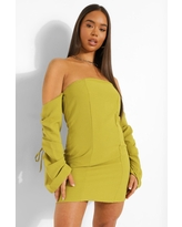 Womens Linen Off The Shoulder Rouched Sleeve Mini Dress - Green - 4