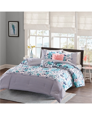 Blue Brie Floral Printed Reversible Comforter Set (Twin/Twin XL)