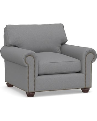 Webster Roll Arm Upholstered Armchair with Bronze Nailheads, Down Blend Wrapped Cushions, Textured Twill Light Gray