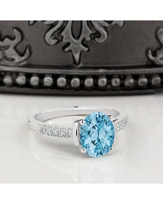 Auriya 2ct Fancy Oval Sky Blue Topaz and Diamond Engagement Ring 1/6ctw 14k Gold (5)