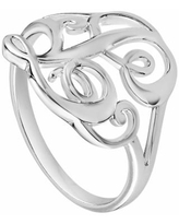 PRIMROSE Sterling Silver Initial Ring, Women's, Size: 8, Grey