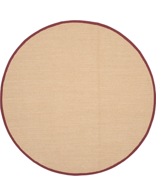 4' Solid Loomed Round Area Rug Maize/Burgundy - Safavieh, Size: 4' ROUND, Yellow/Red
