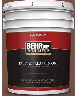 New Savings On Behr Premium Plus 5 Gal S190 7 Toasted Pecan Flat Exterior Paint And Primer In One