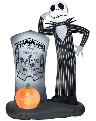 6Ft Airblown® Inflatable Disney Jack Skellington with Tombstone Scene By Gemmy Industries   Michaels®