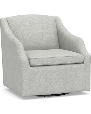 Charmant SoMa Emma Upholstered Swivel Armchair, Polyester Wrapped Cushions,  Basketweave Slub Ash