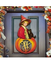 aMonogramArtUnlimited Personalized Single Letter Holiday Child and Black Cat Sitting on a Pumpkin Wooden Wall Decor 93157-24 Letter: U