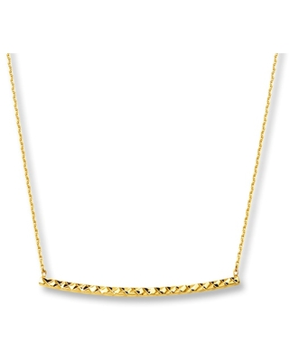 Jared The Galleria Of Jewelry Curved Bar Necklace 14K Yellow Gold
