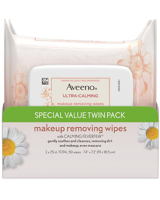 Aveeno Ultra-Calming Sensitive Skin Makeup Removing Wipes Unspecified - 25.0 ea x 2 pack