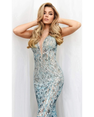 Jasz Couture - 7210 Illusion Plunging Neck Beaded Lace Sheath Gown