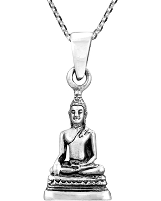 Handmade Buddha Image in Meditating Posture Sterling Silver Necklace (Thailand) (Charm)