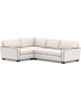 Turner Square Arm Upholstered Right Arm 3-Piece Corner Sectional with Bronze Nailheads, Down Blend Wrapped Cushions, Sunbrella(R) Performance Chenille Salt