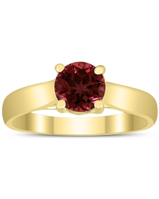Round 6MM Garnet Cathedral Solitaire Ring in 10K Yellow Gold (7)
