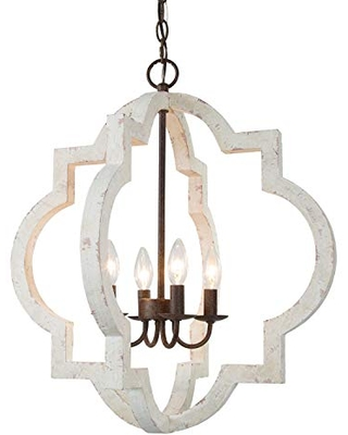 Amazing Savings On Log Barn Farmhouse Chandelier Handmade Distressed White Large Wood Light Fixture For Dining Room Bedroom Foyer Entryway And Living Room