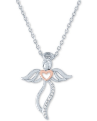 "Diamond Accent Angel 18"" Pendant Necklace in Sterling Silver & 14k Rose Gold-Plate"