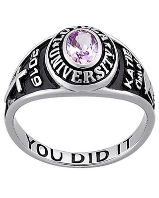 Personalized Women's 10KT Gold Traditional Petite Oval Birthstone Class Ring