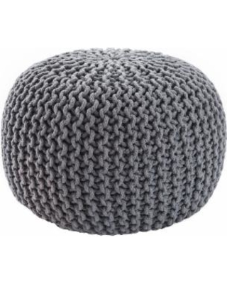 Jaipur Living Visby Gray Textured Round Pouf - POF100206