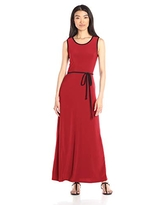 Star Vixen Women's Sleeveless Maxi Skater Dress with Contrast Piping and Tie Belt, Red/Black, Small