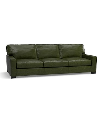 "Turner Square Arm Leather Grand Sofa-3-Seater 103.5"", Down Blend Wrapped Cushions, Legacy Forest Green"