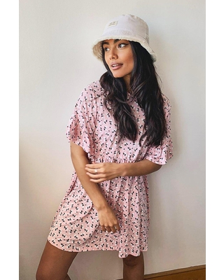 Womens Ditsy Floral Smock Dress - Pink - 2