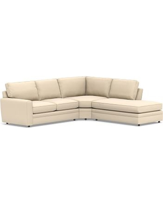 Pearce Square Arm Upholstered Left 3-Piece Bumper Wedge Sectional, Down Blend Wrapped Cushions, Performance Everydayvelvet(TM) Buckwheat