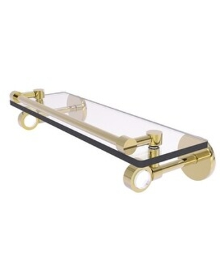 Allied Brass Clearview Collection Glass Shelf with Gallery Rail (Unlacquered Brass - 16 Inch)