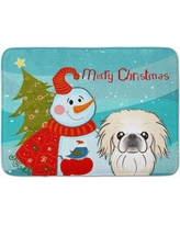 The Holiday Aisle Snowman with Pekingese Memory Foam Bath Rug THLA5110