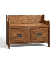 Wade Entryway Bench with Drawers, Small Weathered, Pine finish