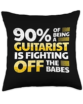 Guitar Accessories Funny Guitar Player Saying Guitarist I Fighting Off Babes Throw Pillow, 18x18, Multicolor