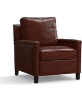 Tyler Leather Armchair with Bronze Nailheads, Polyester Wrapped Cushions, Leather Signature Whiskey
