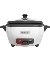 Black + Decker 6 Cup Rice Cooker, White