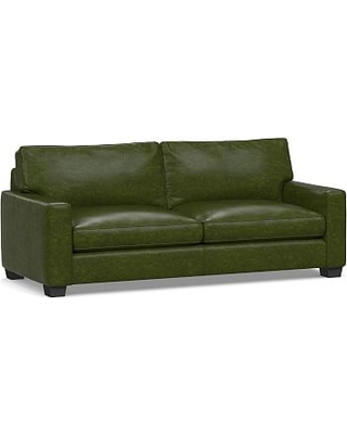 """PB Comfort Square Arm Leather Grand Sofa 88"""", Polyester Wrapped Cushions, Legacy Forest Green"""