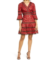 Shani Embroidered Lace Fit & Flare Cocktail Dress, Size 2 in Red/black at Nordstrom
