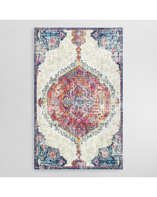 Ivory and Red Medallion Maria Area Rug: Multi - Polypropylene - 4' x 6' by World Market