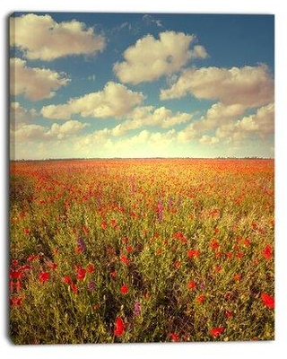 """Design Art 'Poppy Filed Under Bright Sky' Photographic Print on Wrapped Canvas PT12695 Size: 20"""" H x 12"""" W x 1"""" D"""