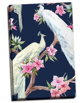 """Bay Isle Home 'Paradis Birds II Watercolor' Watercolor Painting Print BI117403 Format: Wrapped Canvas Size: 24"""" H x 16"""" W x 0.75"""" D"""