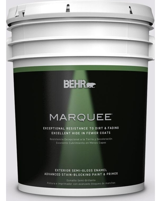 BEHR MARQUEE 5 gal. #PR-W2 Early Crocus Semi-Gloss Enamel Exterior Paint and Primer in One