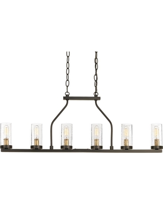 Progress Lighting Hartwell 34 In 6 Light Antique Bronze Island Chandelier With Clear Seeded Gl And Natural Br Accents From
