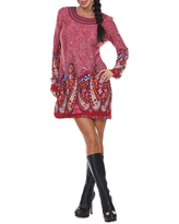 White Mark Sandrine Embroidered Sweater Dress, X-large , Red