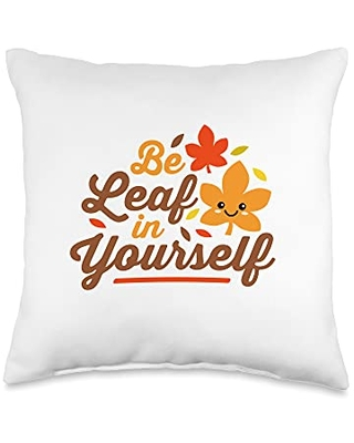 Detour Shirts Be Leaf in Yourself Believe Cute Kawaii Thanksgiving Throw Pillow, 16x16, Multicolor