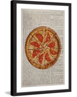 """Marmont Hill 'Salami Pizza' Framed Painting Print MH-JLFOOD-24-BFP Size: 18"""" H x 12"""" W x 1.5"""" D"""