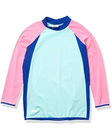 TYR Girl's Solid Splice Rash Guard, Mint/Pink, Large
