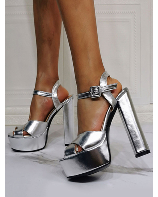 Milanoo Evening Platforms PU Leather Open Toe Chunky Heel High Heel Party Shoes Silver Sexy High Heels