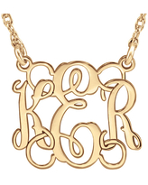 Personalized 15mm Script Monogram Necklace, One Size , Pink