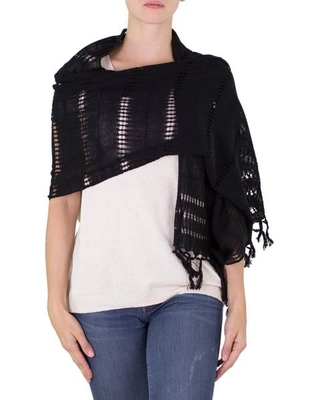 Handwoven Fringed Cotton Shawl in Black from Nicaragua
